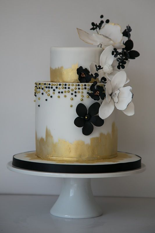 Black And White 2 Tier Wedding Cakes
