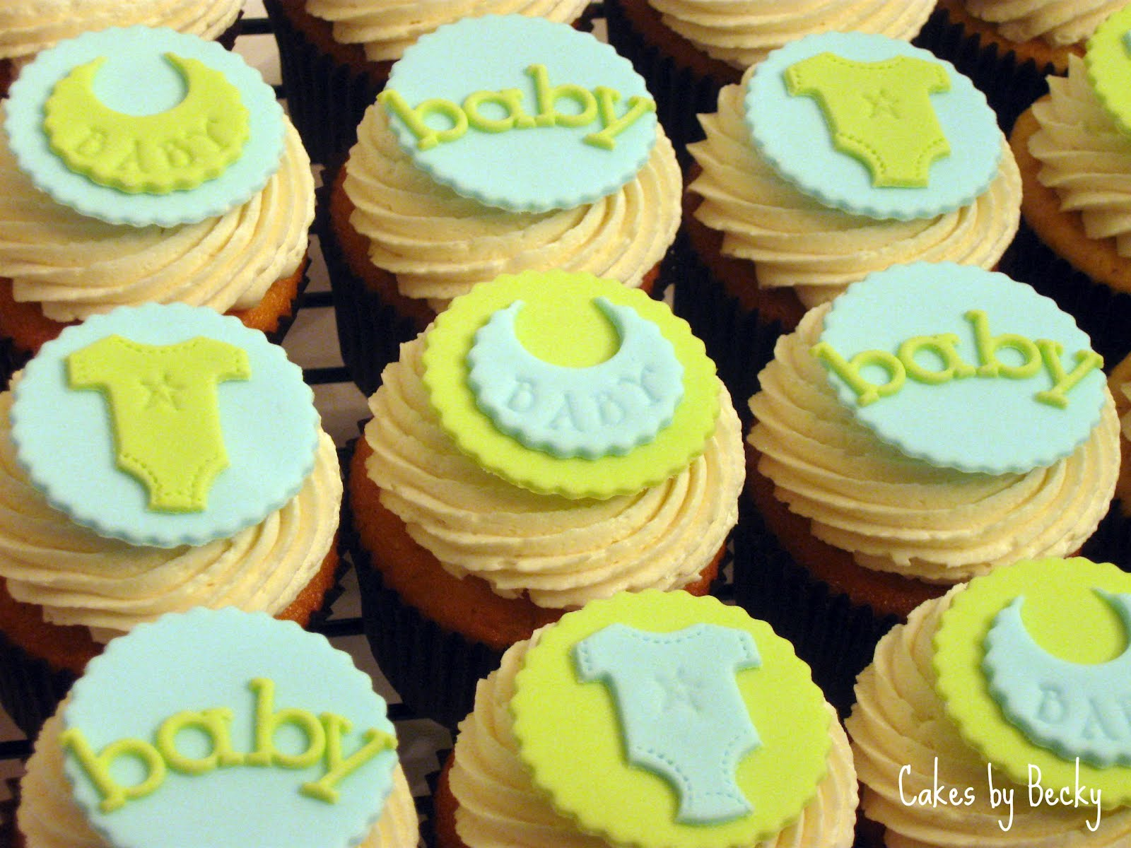 11 Yellow Brown Blue Boy Shower Cupcakes Photo Blue And Yellow