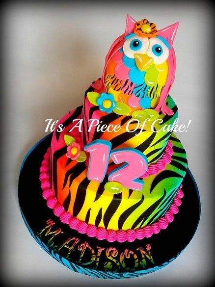 10 Neon Giraffe Print Cakes For Girls Photo Neon Zebra Print Cake
