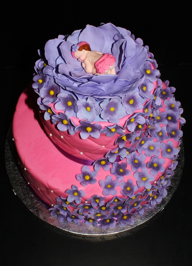 6 Purple Baby Shower Cakes Fall Photo Pink And Purple Baby Shower