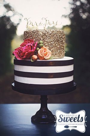 Pink Black White And Gold Birthday Cakes