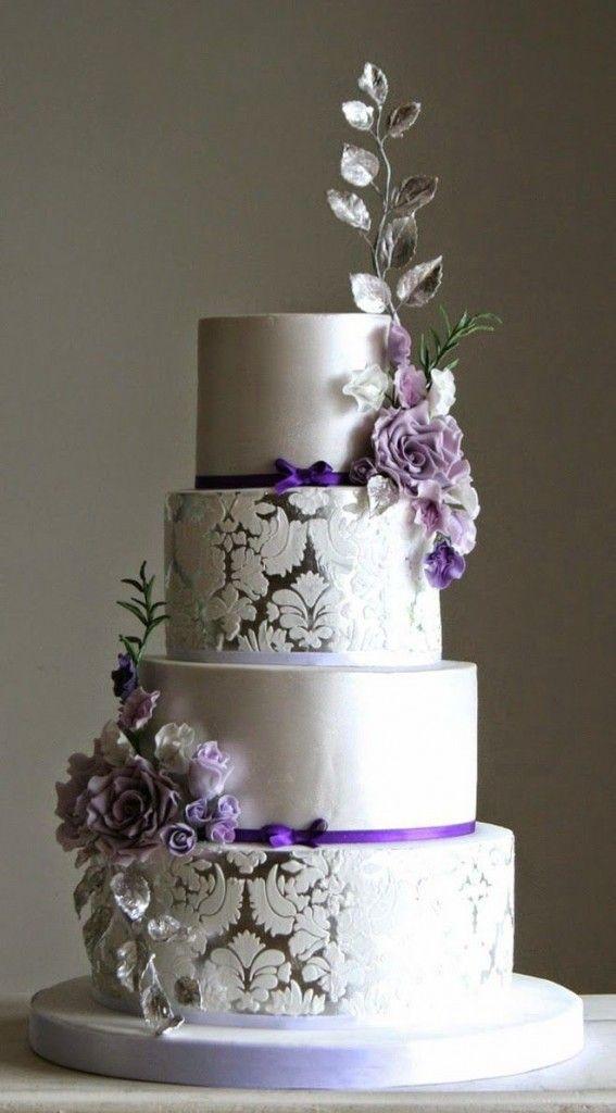 7 Large Purple Wedding Cakes Photo Wedding Cake With Purple