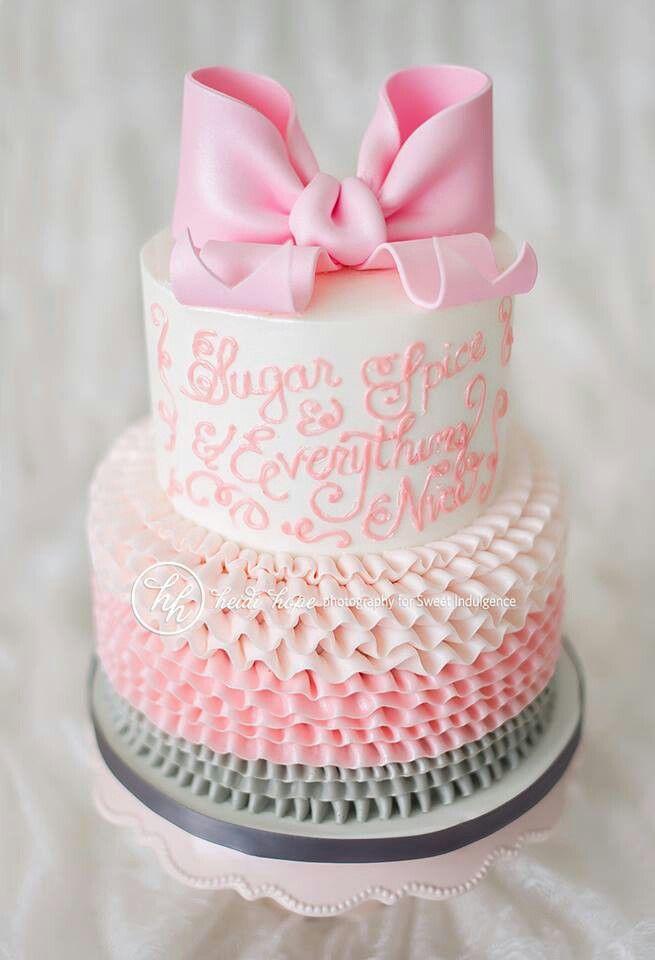 11 Baby Shower Cakes For Girls Ruffles Photo Baby Girl Christening