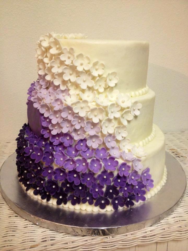 6 Ombre Wedding Cakes Fondant Photo Wedding Cake with Purple
