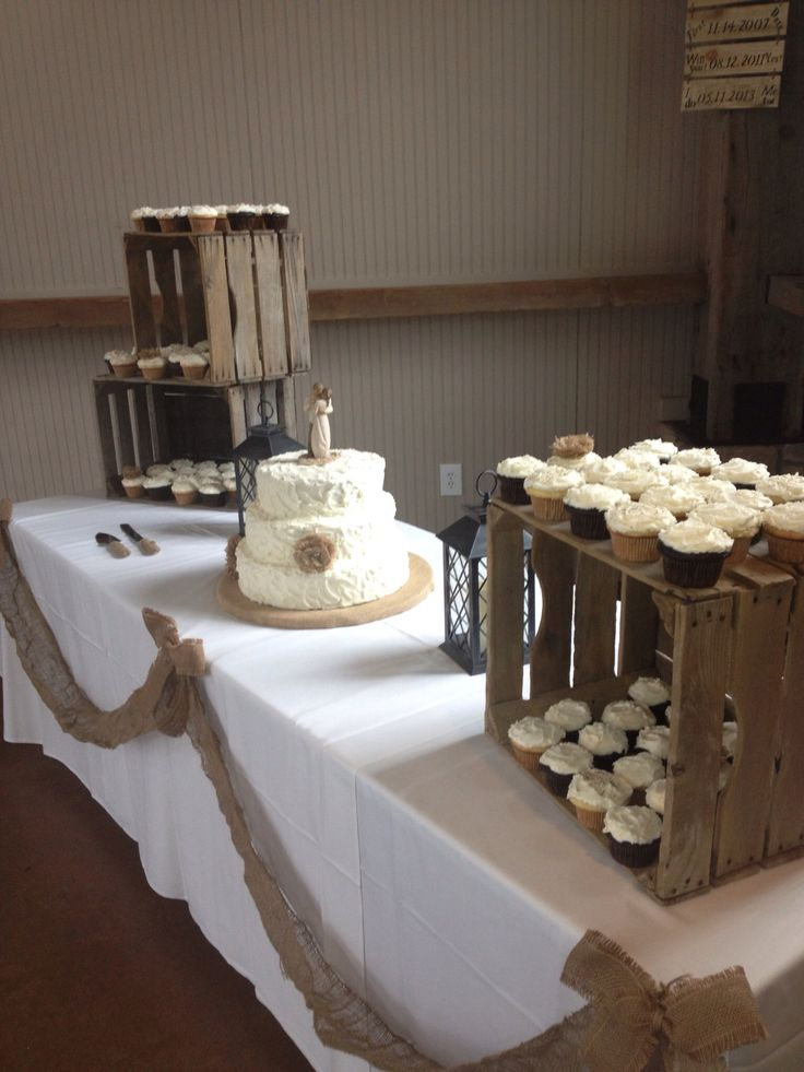 Wedding Cupcake Rustic Crates