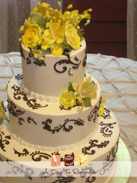 11 Yellow Black And White Wedding Cakes Photo - Yellow Black and ...