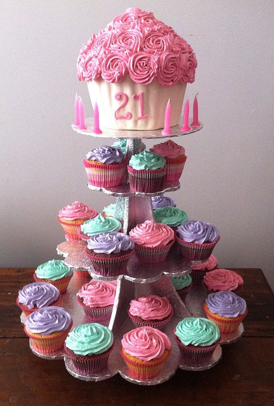 6 Giant Cupcakes Hers Photo 21st Birthday Cupcake Cake Ideas