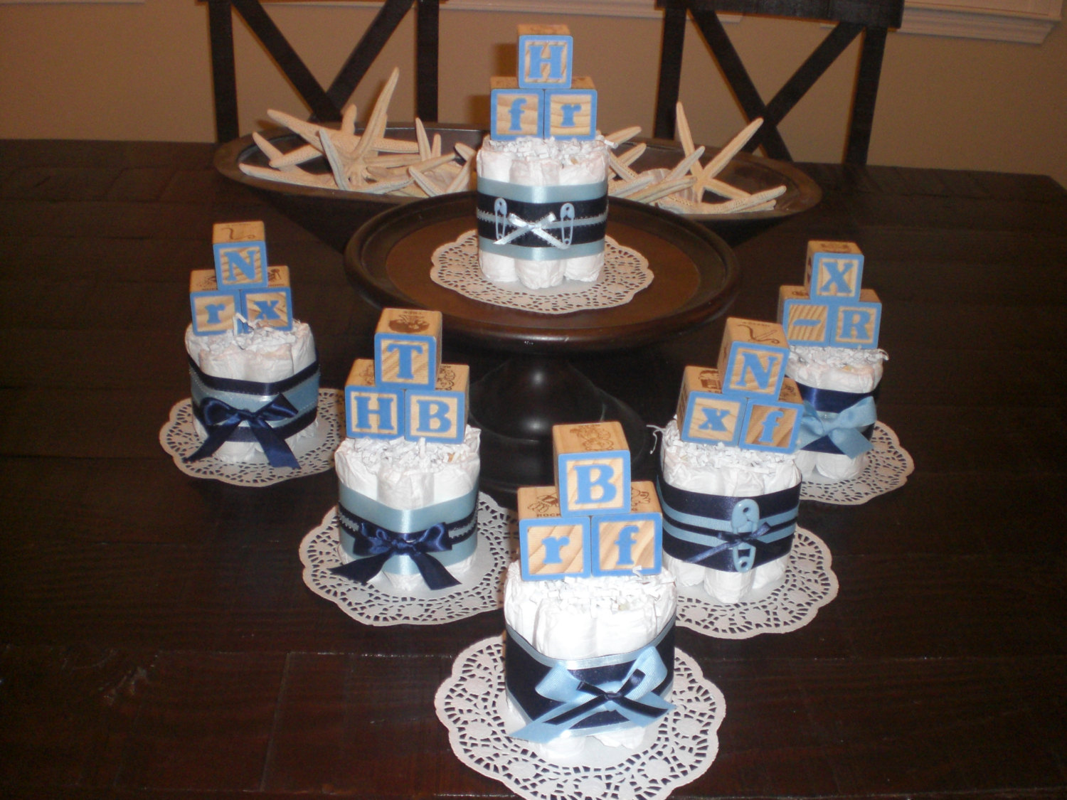 8 Blue Centerpieces For Diaper Cakes Photo Baby Boy Diaper Cakes