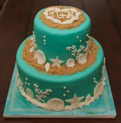 beach themed wedding shower cake