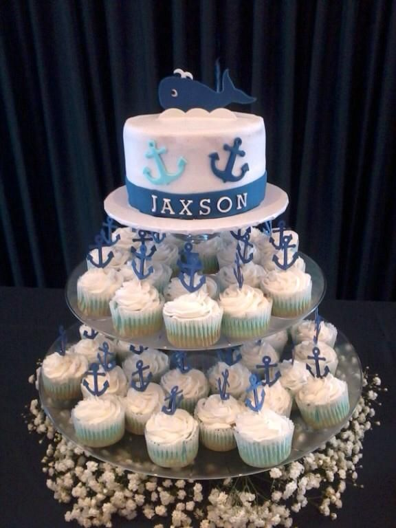 Nautical Baby Shower Cake And Cupcakes