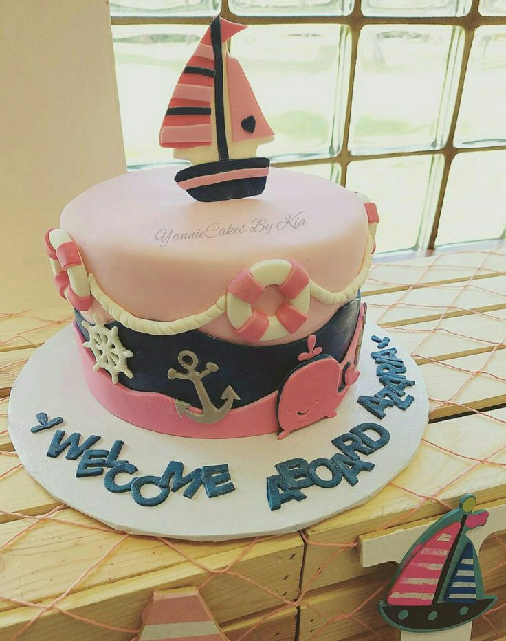 12 Anchor Girl Baby Shower Cakes Photo Anchor Nautical Baby Shower