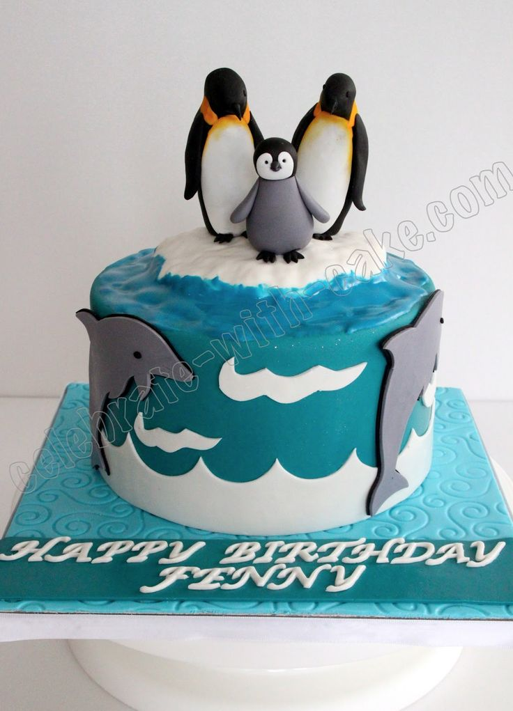 13 Sledding Penguins Birthday Cake Cupcakes Photo Penguin Birthday