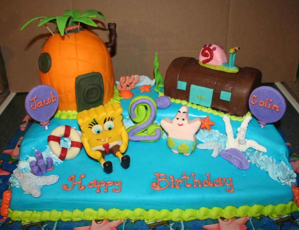 Swell 12 Little Boy Birthday Cakes Spongebob Photo Spongebob Birthday Funny Birthday Cards Online Alyptdamsfinfo