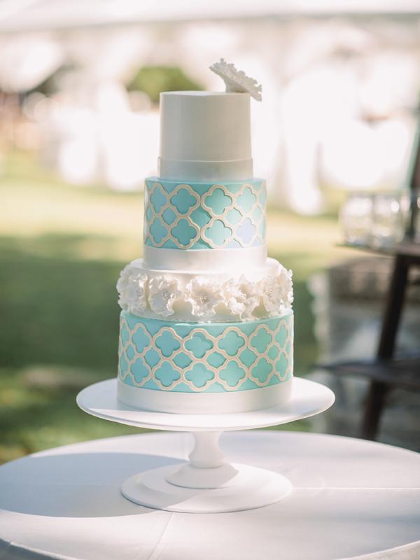 Teal Turquoise Wedding Cake
