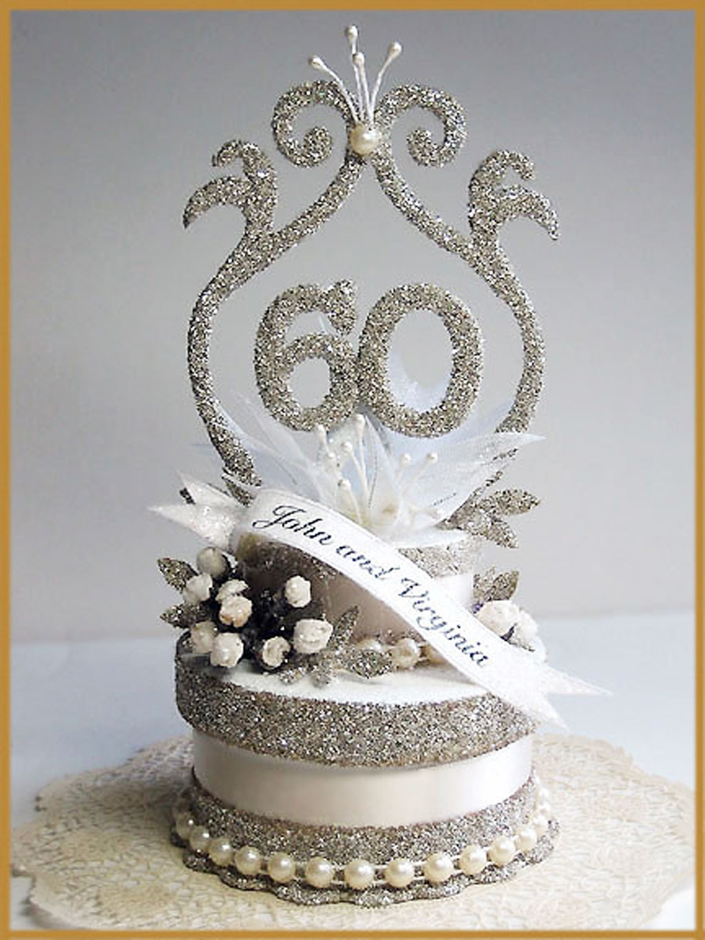 60th Wedding Anniversary Cake Topper