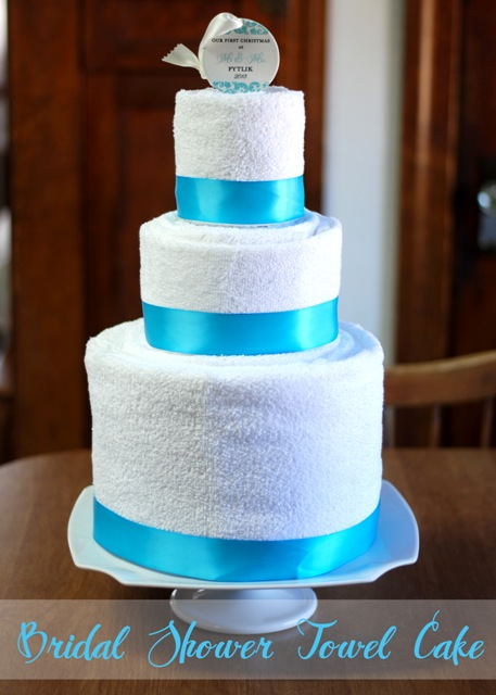 bridal shower cake made with towels