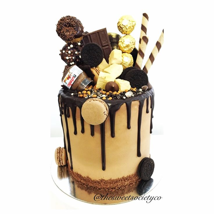 Drip  Tier Cake With Sweets And Chocolates