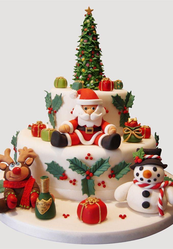 Christmas Cake with Fondant Decorations - 10 Deco Christmas Fondant Cakes For Girls Photo - Fondant Cake