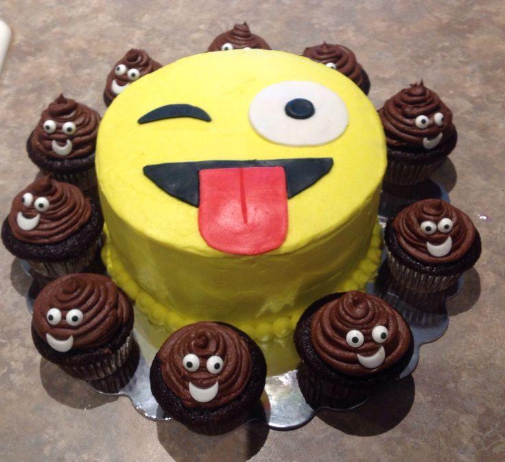 Emoji Poop Birthday Cake Cupcakes
