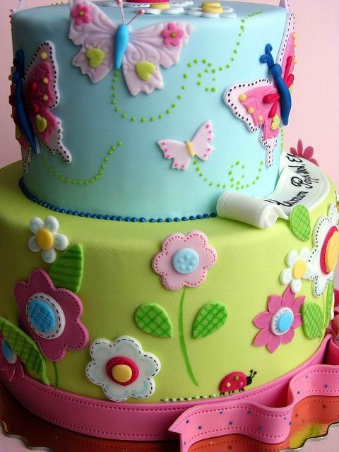 Girls Butterfly And Flower Birthday Cake Ideas
