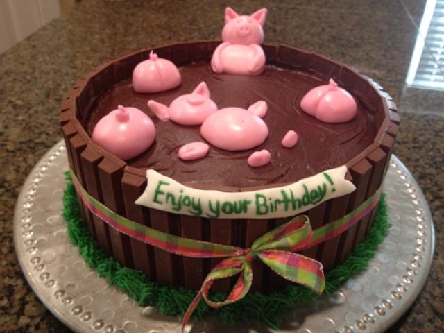 Superb 10 Simple Birthday Cakes Pigs Photo Happy Birthday Kit Kat Cake Funny Birthday Cards Online Necthendildamsfinfo