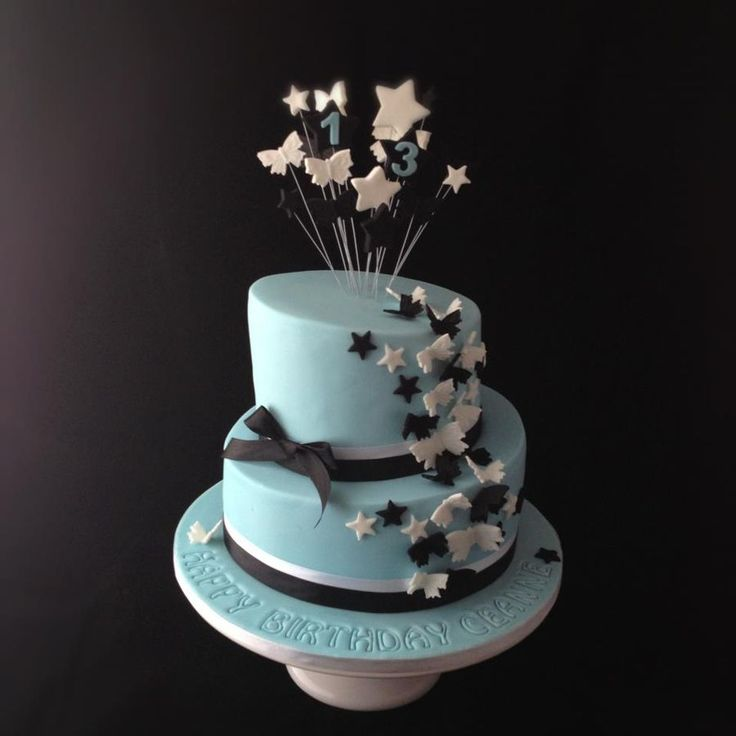 Light Blue Birthday Cake