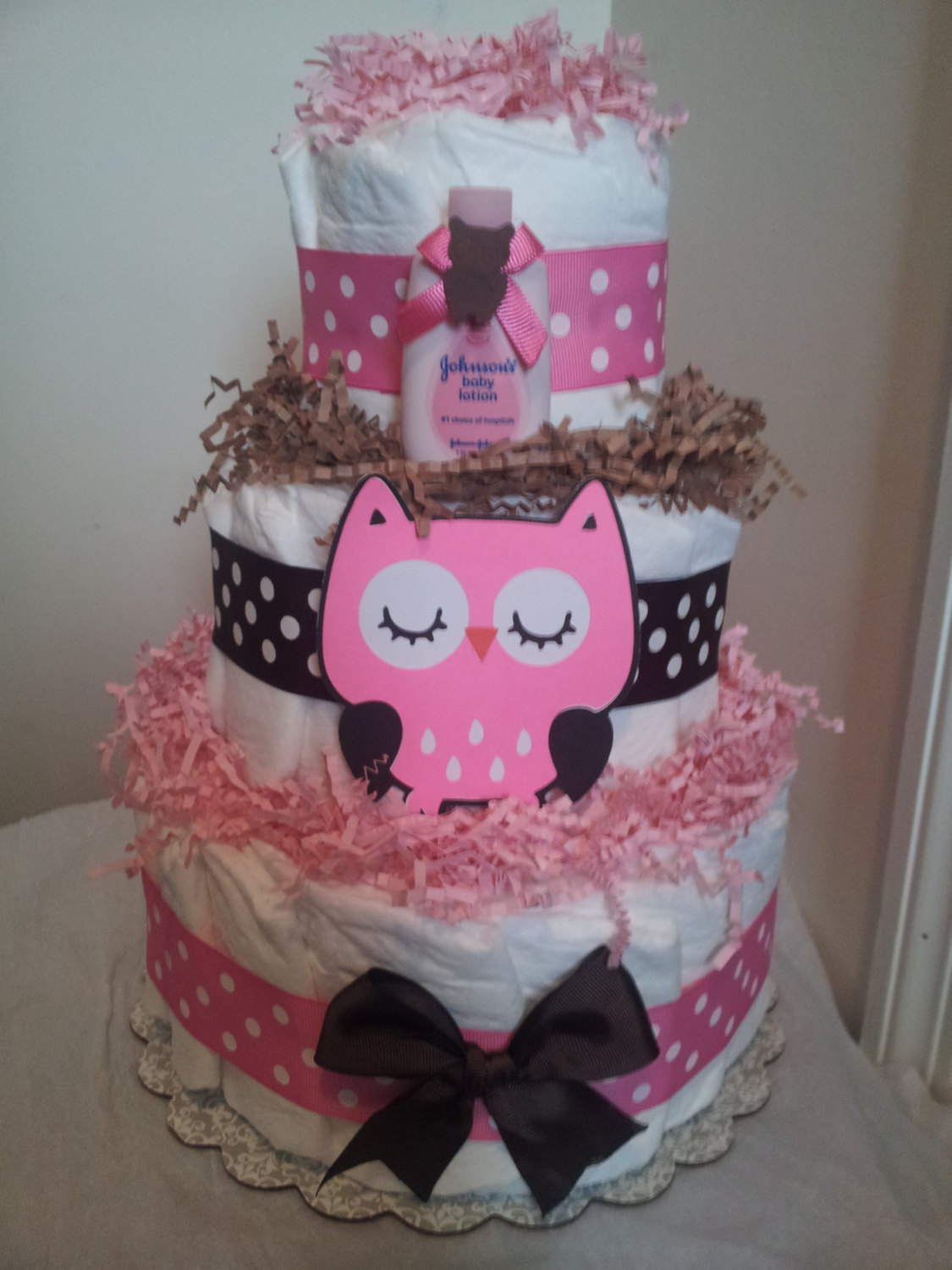 10 Owl Diaper Cakes For Girls Photo Owl Diaper Cake Baby Shower