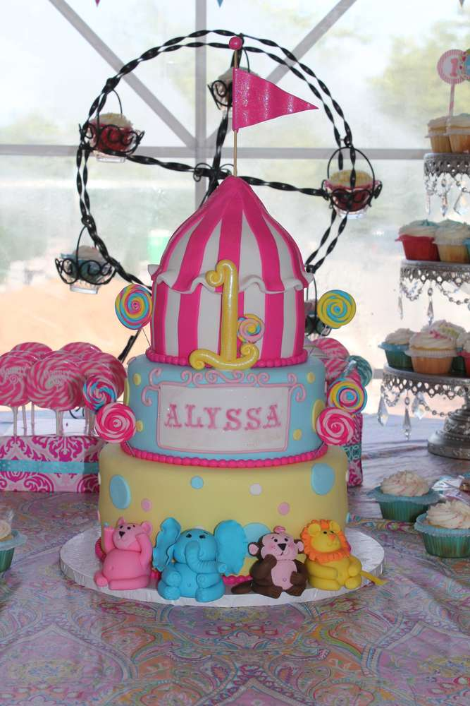 11 Circus Party Twins Birthday Cakes For Girls Photo Under The Big