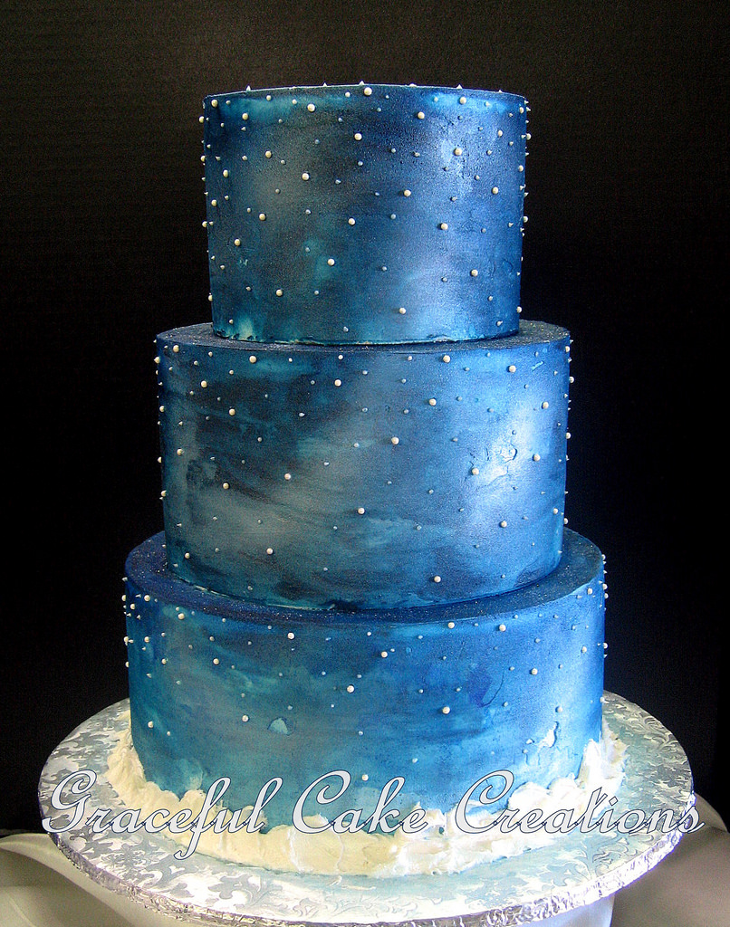 12 Starry Night Blue Wedding Cakes Photo Midnight Blue And Silver