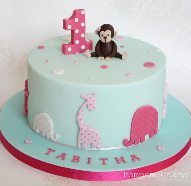 10 Little Girls Monkey Cakes Photo Girl Monkey Theme 1st Birthday