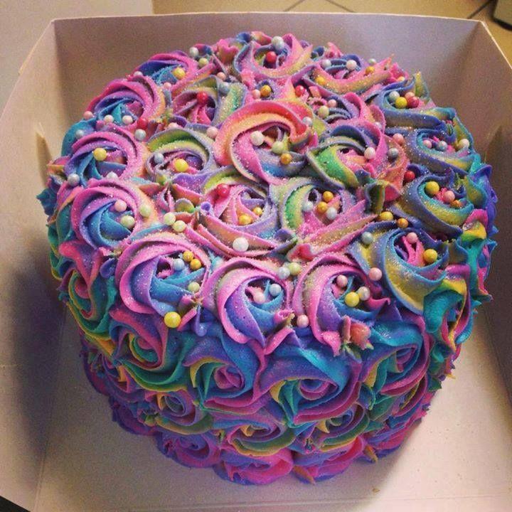 10 Pretty Birthday Cakes With Frosting Photo Birthday Cake