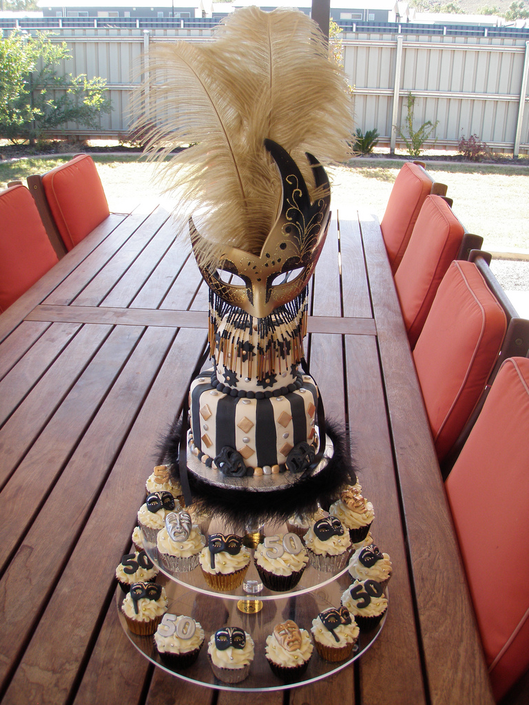 Black And Gold Masquerade Cake