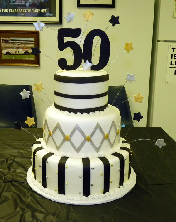 Black And Silver 50th Birthday Cake