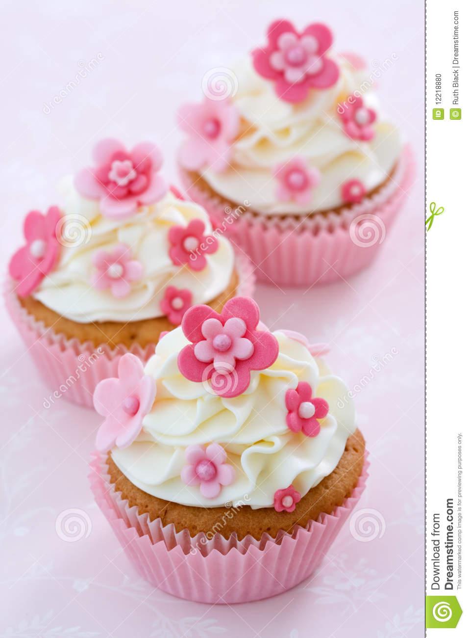 9 Pink Fondant Flower Cupcakes Photo Pink Flower Cupcake Cupcakes