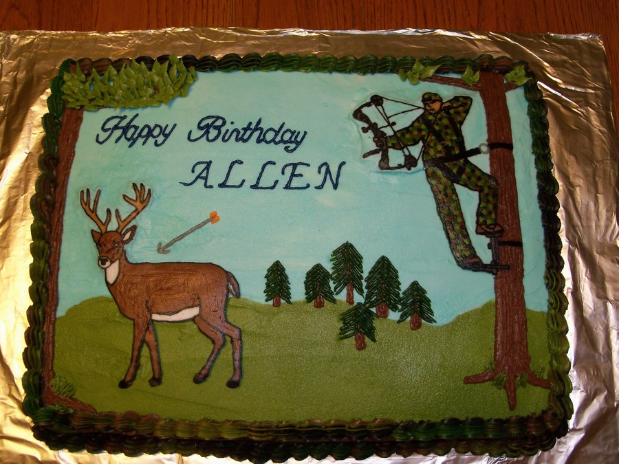 Fantastic 13 Deer Cakes With A Crossbow Photo Deer Hunting Birthday Cake Funny Birthday Cards Online Elaedamsfinfo