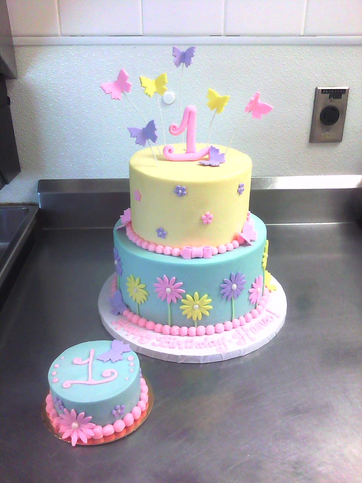 Girl 1st Birthday Cake Flowers