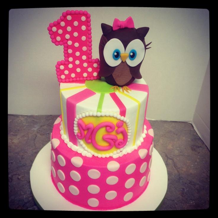11 Girly Owl Cakes Photo Owl First Birthday Cake Girly Owl