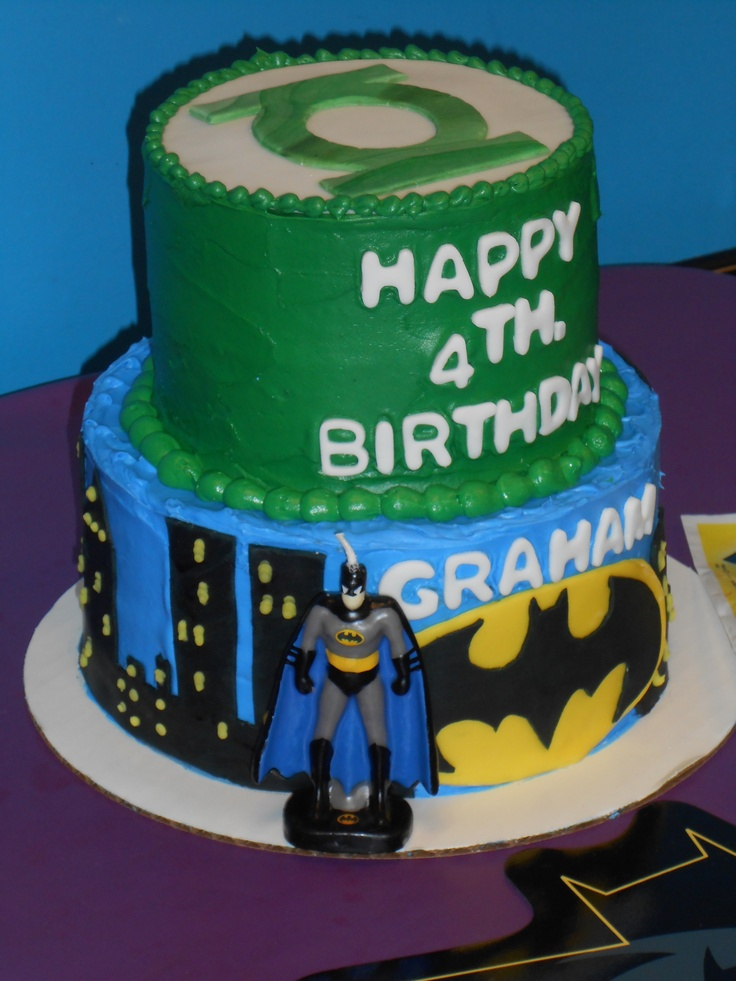 Swell 11 Green Lantern And Batman Cakes Photo Batman Superheroes Cake Funny Birthday Cards Online Amentibdeldamsfinfo
