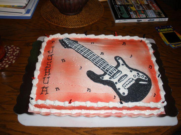 10 Guitar Birthday Cakes For Boys Ever Photo Electric Guitar Cake