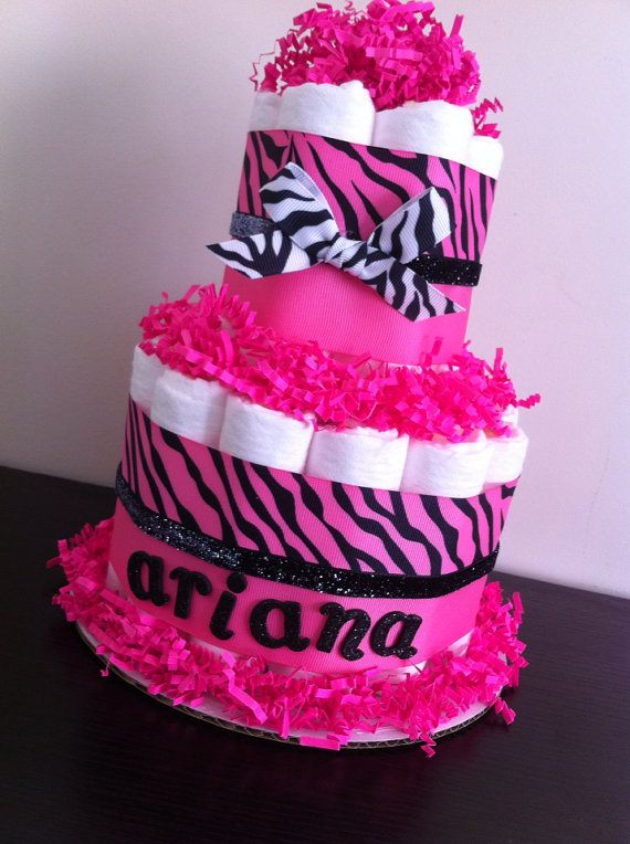 12 Pink And Black Zebra Baby Girl Diaper Cakes Photo Pink Baby