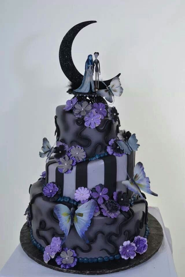 11 Black And Purple Halloween Wedding Cakes Photo Halloween