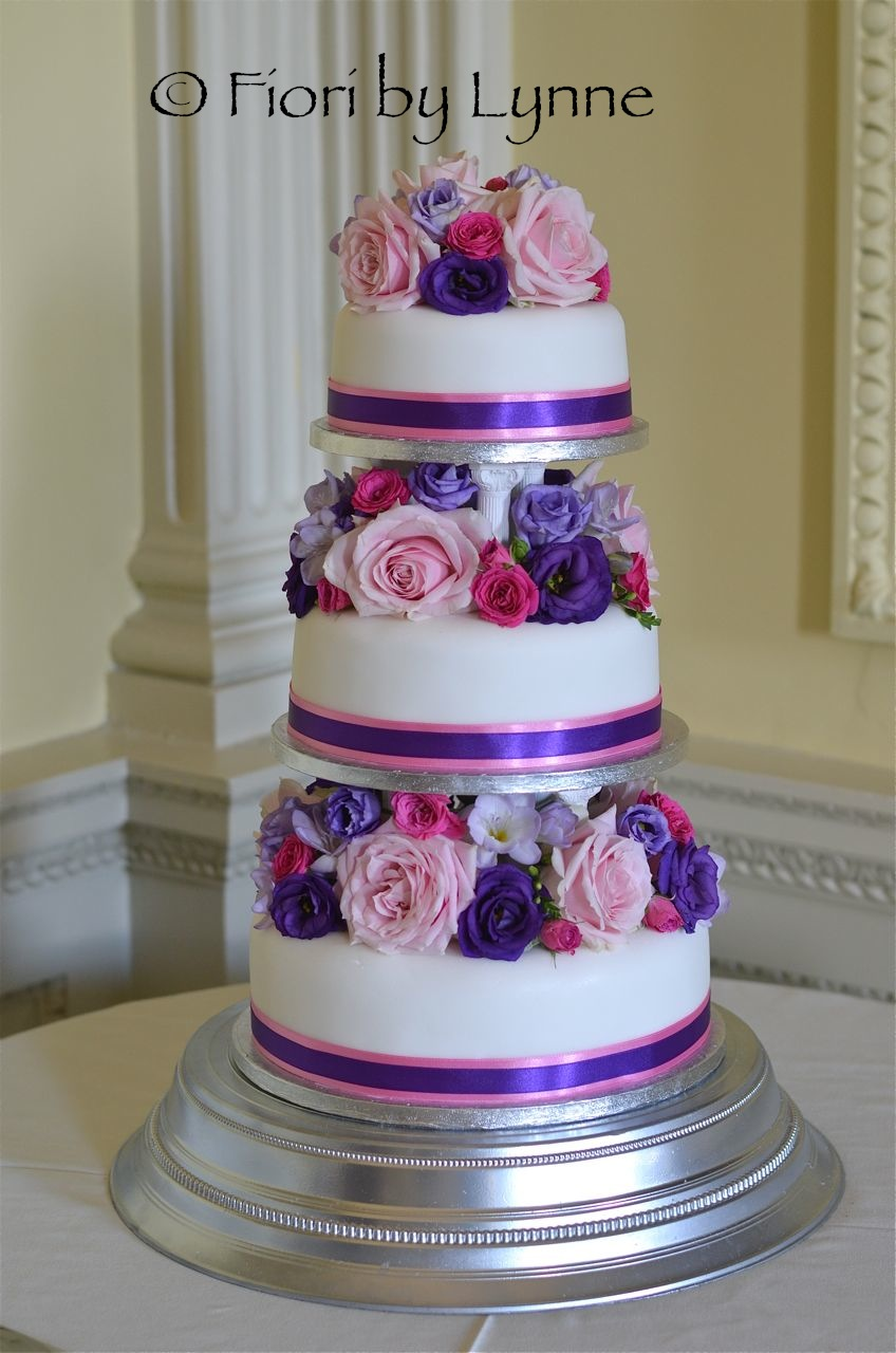 Wedding Cakes With Pink And Purple Flowers 5000 Simple Wedding Cakes
