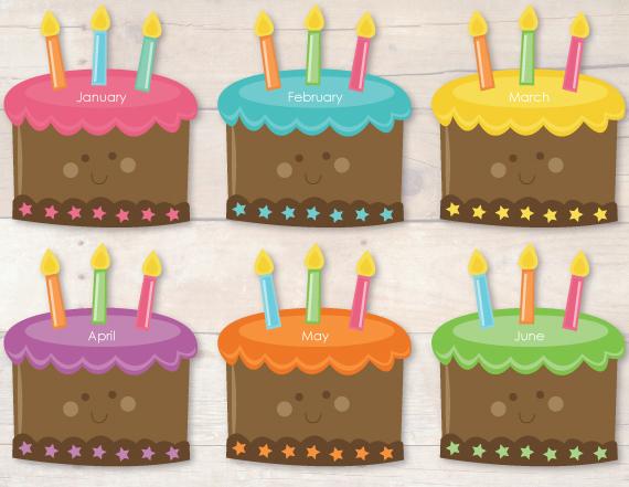 Surprising 5 Printable Month Birthday Cakes Photo Printable Birthday Chart Funny Birthday Cards Online Barepcheapnameinfo