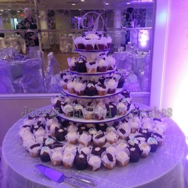 9 Purple Theme Wedding Cake With Cupcakes Photo Purple Wedding