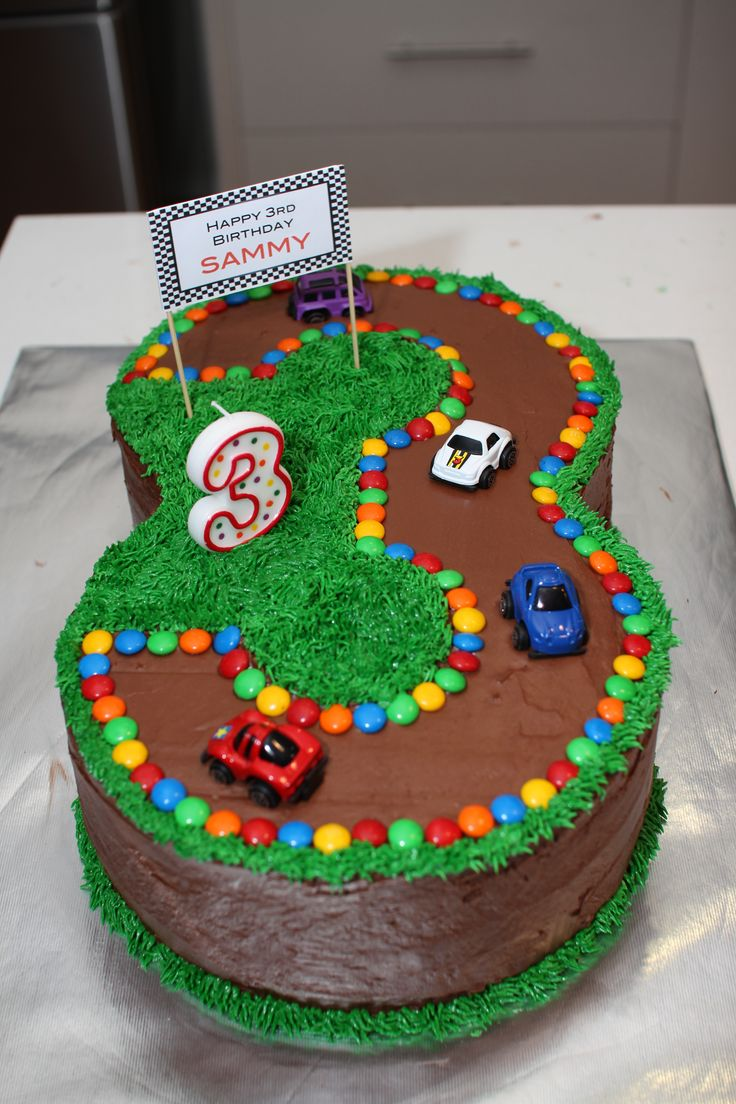3 Year Old Boy Birthday Cake Via Race Car Track Idea