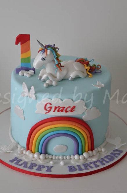 Rainbow Unicorn Birthday Cake