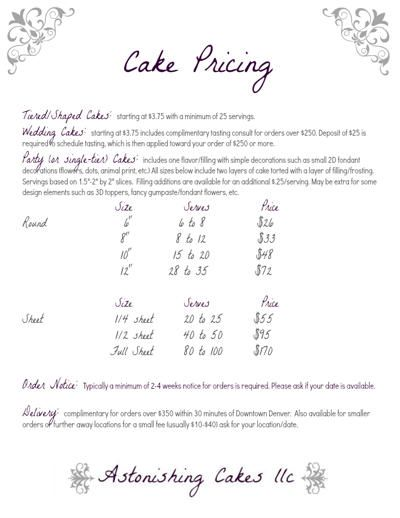 8 Cake Pricing Sheet For Cakes Photo Fondant Cake Prices Guide