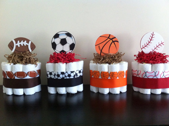 Sports Theme Baby Shower Diaper Cakes For Boys