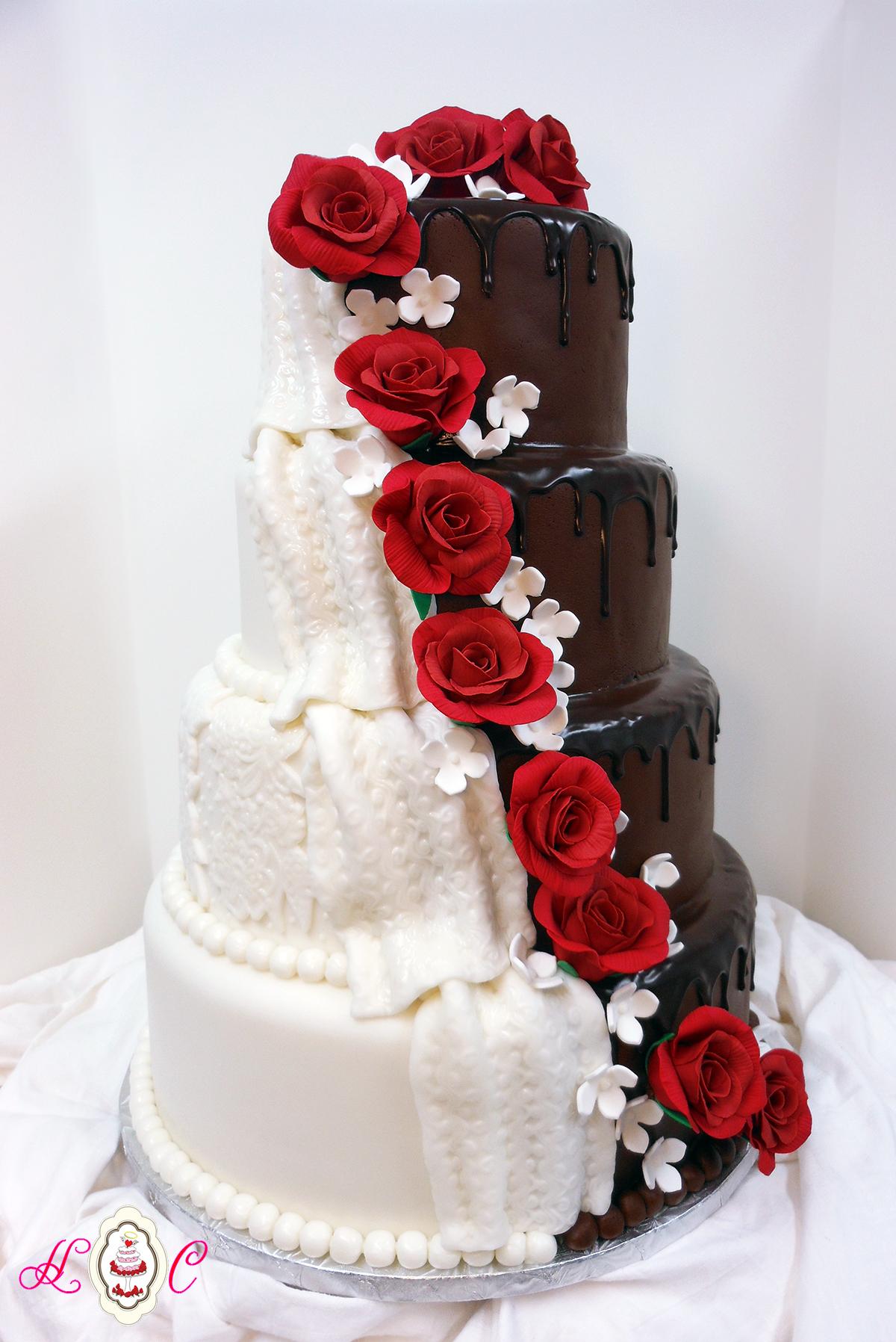 8 Wedding Cakes With Red Roses Decoration Photo Wedding Cake White
