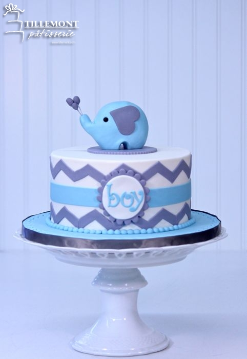 9 One Layer Boy Baby Shower Cakes Photo Baby Boy Elephant Baby